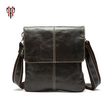 TIANHOO Genuine Leather vintage style Men Bags Messenger Bag Crossbody male bag small zipper cowwide layer