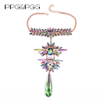 PPG PGG Crystal Long Pendant Women Good Quality Luxury Collar Layer Maxi Necklace Statement Jewelry