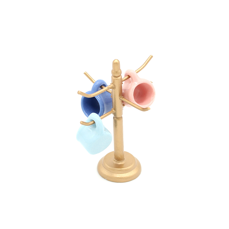 Dollhouse Mini Wine Cups Wooden Rack Stand Holder Doll House Miniature Dining Room  Bar Furniture Decoration Without Cup