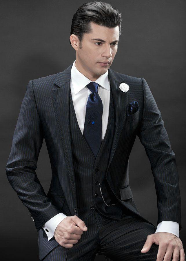 Latest Coat Pant Designs Black Stripe Italian Pattern Men Suit