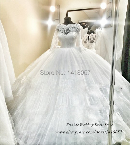 2015 Luxury Ball Gown Wedding Dresses Real Photo Lace Long Sleeve Bride Dress Tulle Corset Back Vestido de Noiva Plus Size