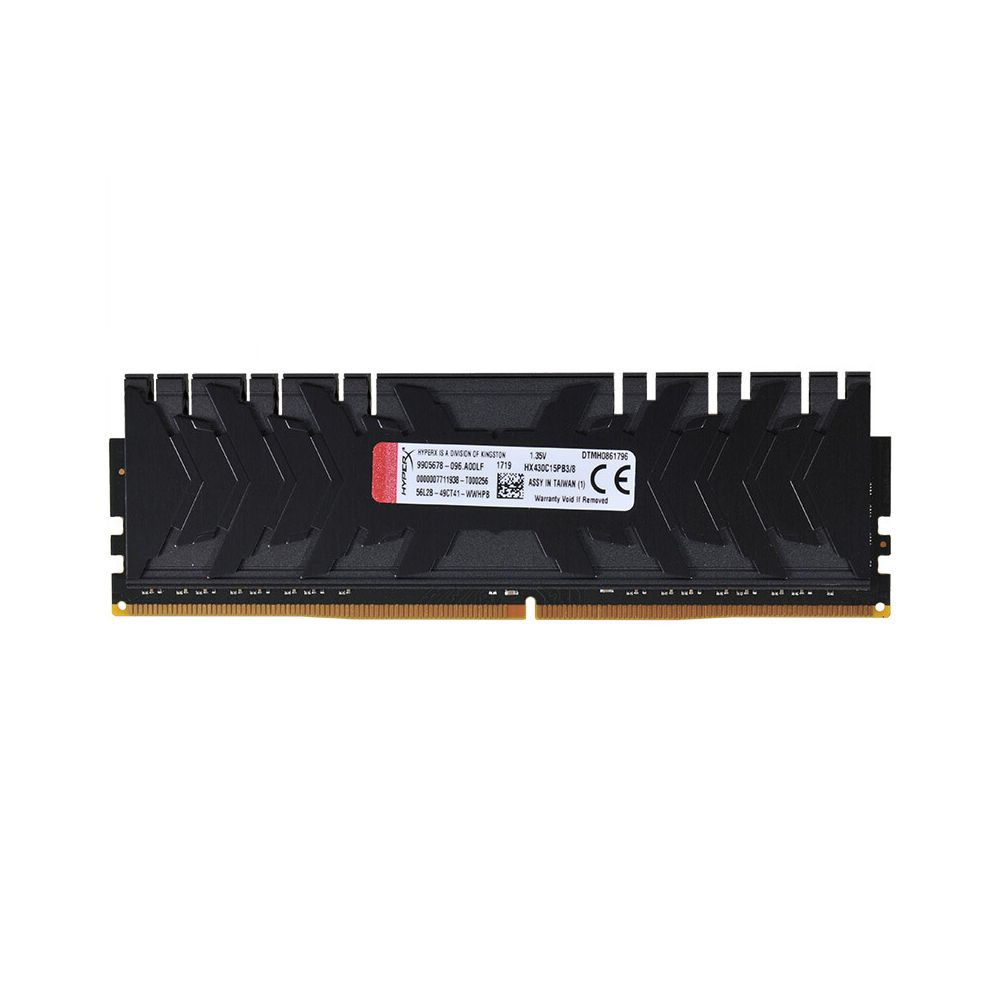 HyperX Kingston Technology Predator Black 8GB DDR4 3000MHz RAM Gaming Memory CL15 1.35V DIMM (288-pin) XMP HX430C15PB3/8 kingston 8gb 2400mhz ddr4 cl15 low voltage 1 2v dimm hyperx fury black desktop computer memory ram