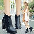 Nueva Llegada de La Manera 2017 de Tacón Alto Botas de Plataforma Femenina botas Zapatos Negro Cabeza Redonda Antideslizante Mujeres Tobillo de Arranque Martin zapato