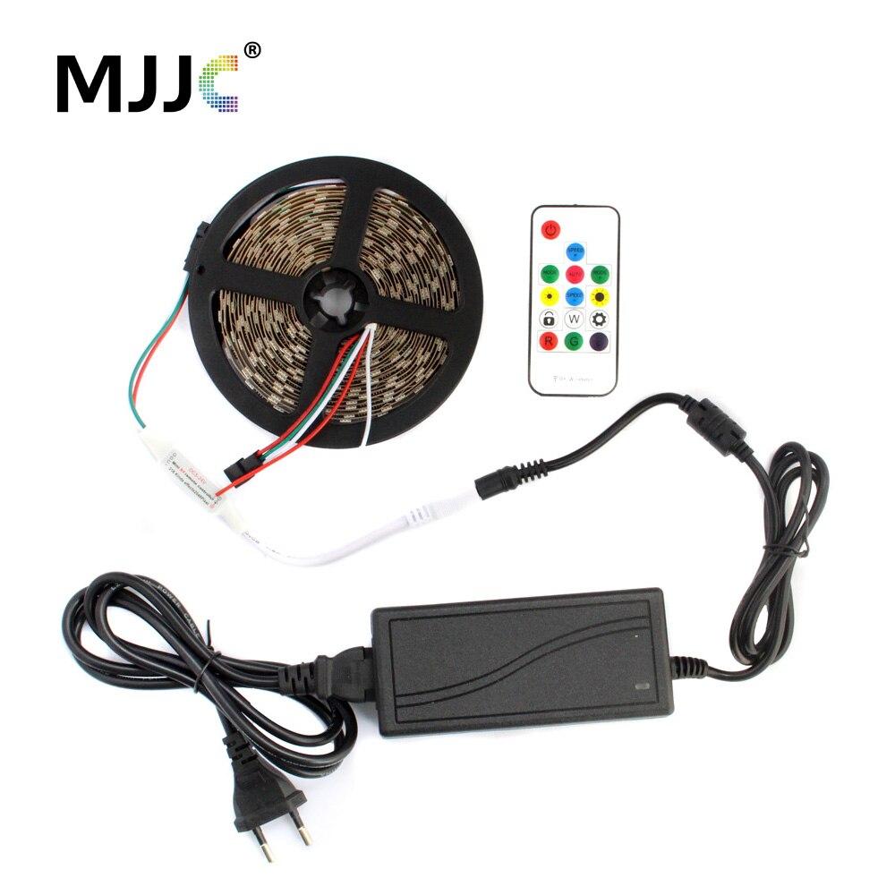 5M WS2812B IC LED Pixel Strip Light Adresovatelný 5V DC SMD 5050 Stripe + RF dálkový ovladač + 5V napájecí adaptér
