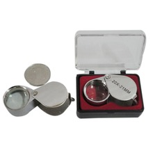 Metal Fold Portable  Handheld 10 x 21mm 20 30 Jewelry Magnifying Glass Folding Magnifier Loupe for Checking