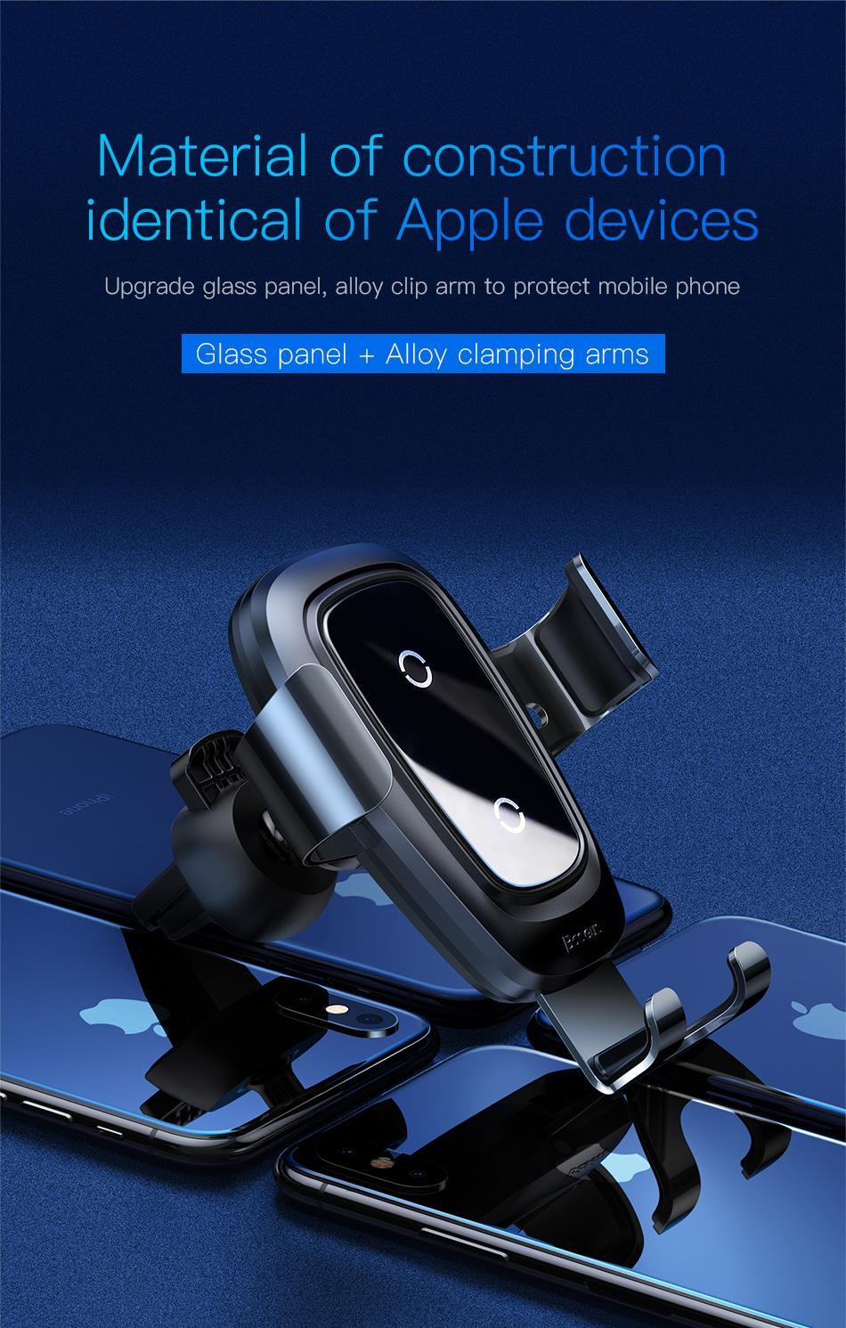 Baseus Qi Wireless Car Charger For iPhone Xs Max X 10w Fast Car Wireless Charging Holder For Xiaomi Mi 9 Mix 3 2s Samsung S10 S9 2