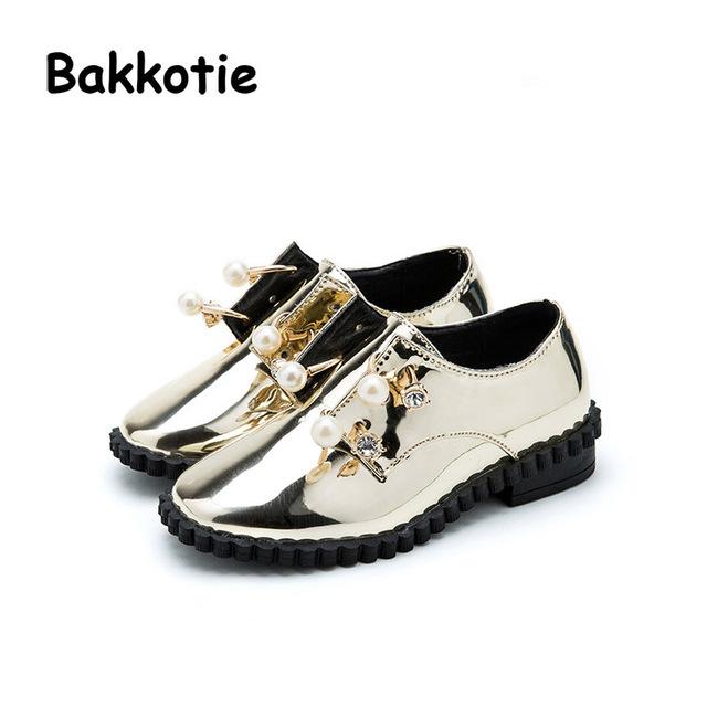 Bakkotie 2017 Nueva Moda Primavera Otoño Bebé Niño Ocasional Marca Kid Transpirable Ocio Niña de Cuero de Patente de la Perla Plana Rhinestone