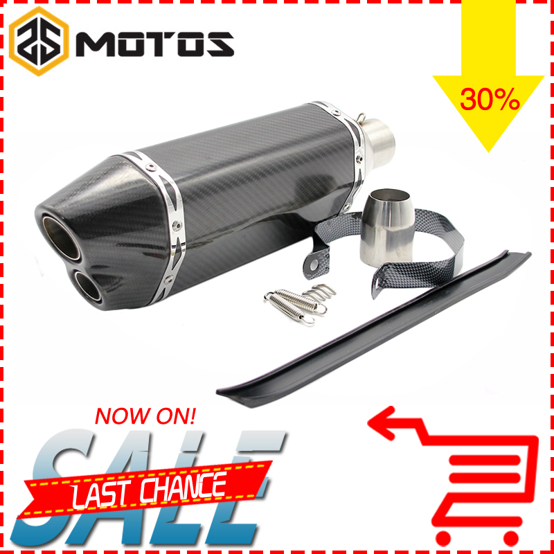 ZS MOTOS Motorcycle Modified Scooter Akrapovic Double Outlet Muffler exhaust pipe CBR 125 250 CB400/600 YZF FZ400 Z750Nice sound