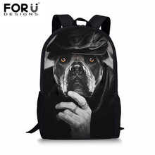 FORUDESIGNS Schoolbags Primary School Boys Backpack Black French Bulldog Printed Satchel Shoulder Backpack Men's Travel Rucksack stark bulldog 16 2014