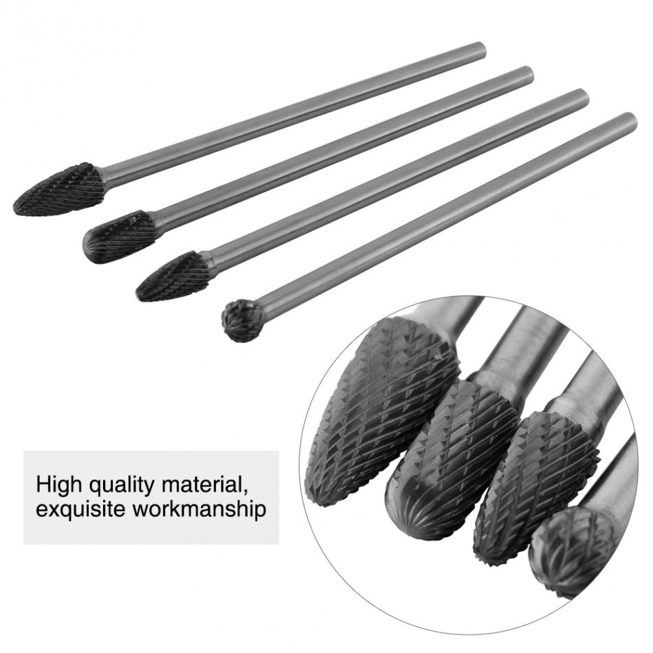 Image 4 - 4pcs Cemented Carbide Long Rotary Files Double Cut Burr Set 6mm Shank Metal Working Tool Carving Shaping Tools Drill Bitsburr setrotary file6mm shank -