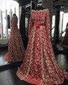 Кристалл Бисером Марокканской Кафтан Кружева Шампанское и Красный Хиджаб Мусульманский Вечернее Платье Длинные Рукава Формальное Вечернее Платье