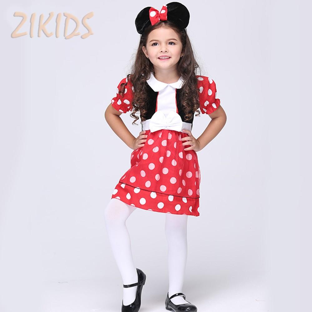 Kids Halloween Cosplay Costume Girls Polka Dot Animation Clothes Set Children Masquerade Party Dresses ( Headwear+Dress )