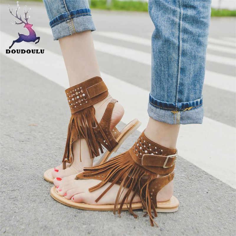 042d70ad73c9 Women Shoes Summer Girls Tassel Flower Flip Flops Beach Sandals Bohemia  Flat Sandals Shoes Woman zapatos