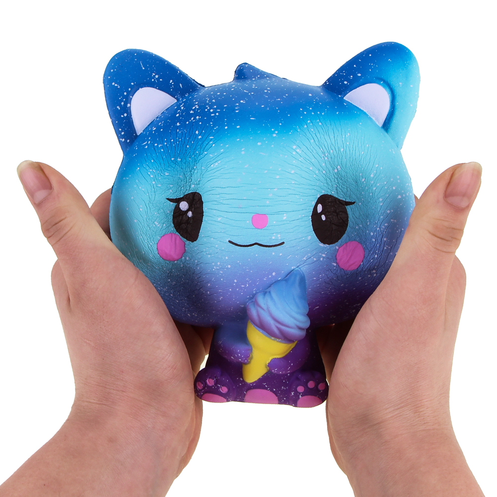 Jumbo Squishies Slow Rising Scented Ice Cream Cat Kawaii Squishy Stress Relief Toys Jumbo Decoration Squishy Fun Collection For Kids and Adult (Galaxy Blue) (7)