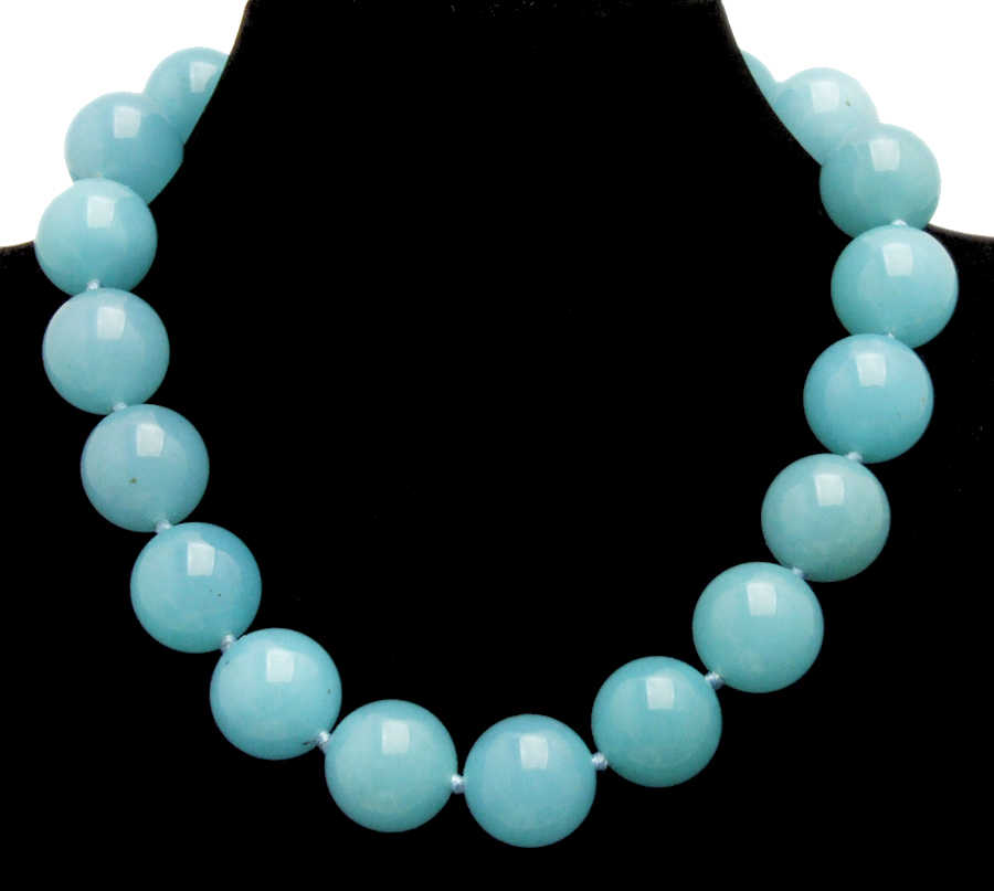 "Qingmos Trendy 18mm Sky-Blue Round Natural Jades Stone Necklace for Women with Genuine Jades Chokers Necklace 17"" Jewelry ne6281"