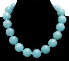 """Qingmos العصرية 18 مللي متر السماء الزرقاء جولة الساقطات الطبيعية حجر قلادة للنساء مع حقيقية الساقطات المختنقون قلادة 17 """"مجوهرات ne6281"""
