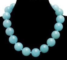 """Qingmos טרנדי 18mm תכלת עגול Jades הטבעי אבן שרשרת לנשים עם אמיתי Jades לולאות שרשרת 17 """"תכשיטי ne6281"""