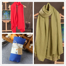 Winter and Autumn Scarf Women High Quality Shawls and Scarves Linen Cotton Scarf Warm Solid Color Scarf