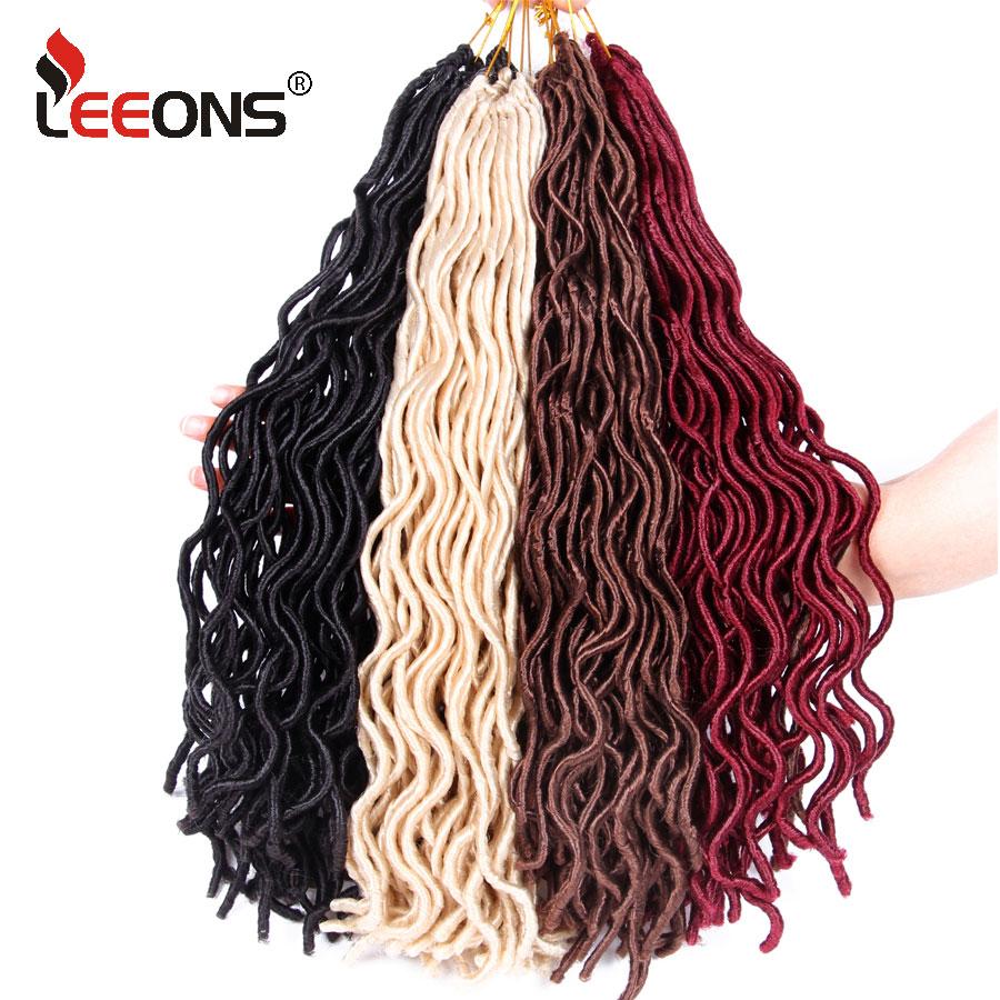 Leeons Faux Locs Curly Crochet Hair 10 18 Inch Crochet Hair Extensions Blonde 613# Brown Artificial Hair Kanekalon Braids