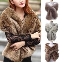 Winter Warm Natural Fur Collar Women Scarf Faux Fur Coat Scarves Luxury Raccoon Neck Warmer Collar
