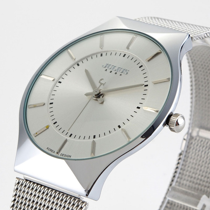 Prix pour Top Marque Julius Femmes Montres Ultra Mince En Acier Inoxydable Net Ceinture Couples quartz-montre-Bracelet De Luxe horloge Relogio Feminino