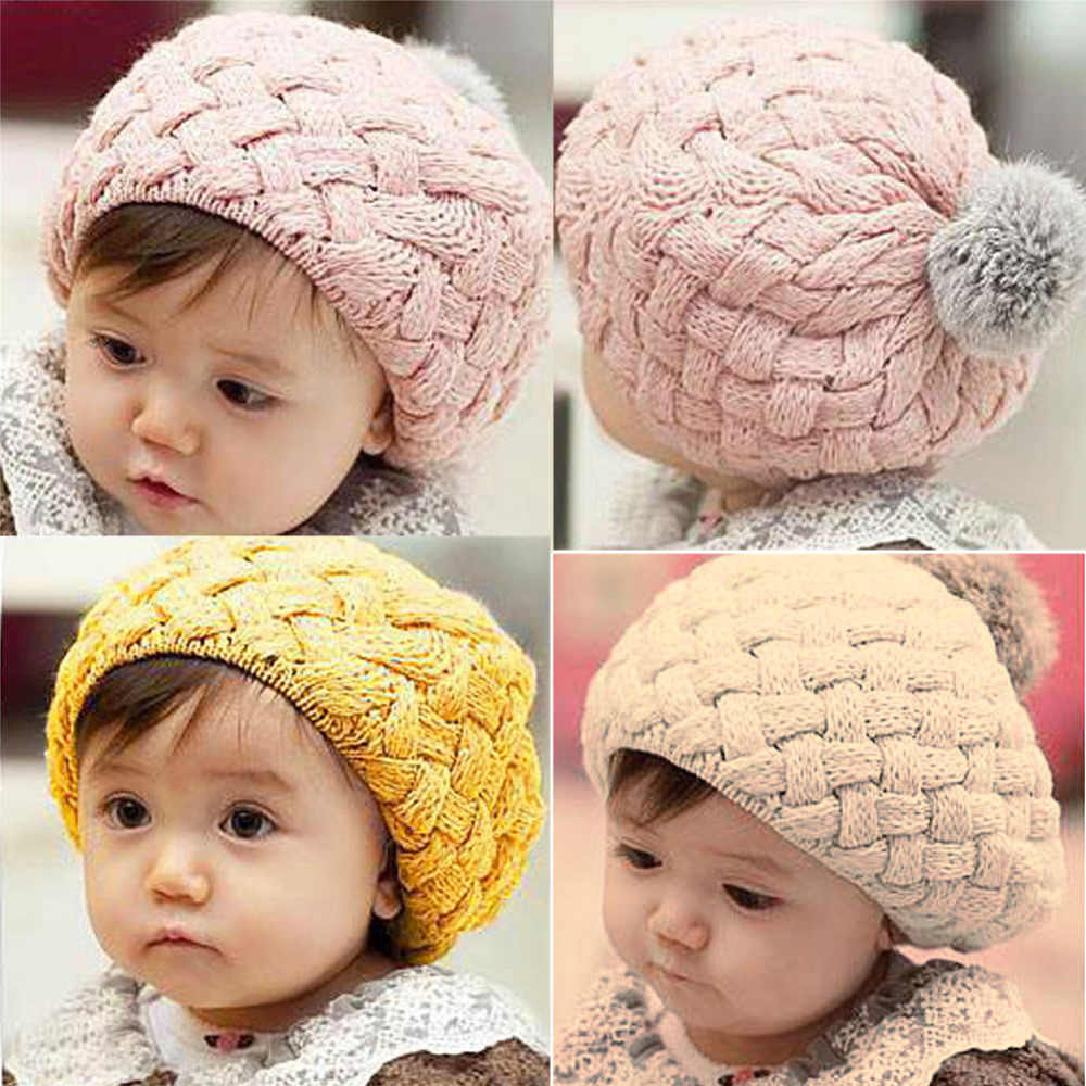 307436910ff Baby Girl Hats Kids Children Baby Lovely Hat Photo Props Beanie Crochet Caps  Pompon Spring Baby