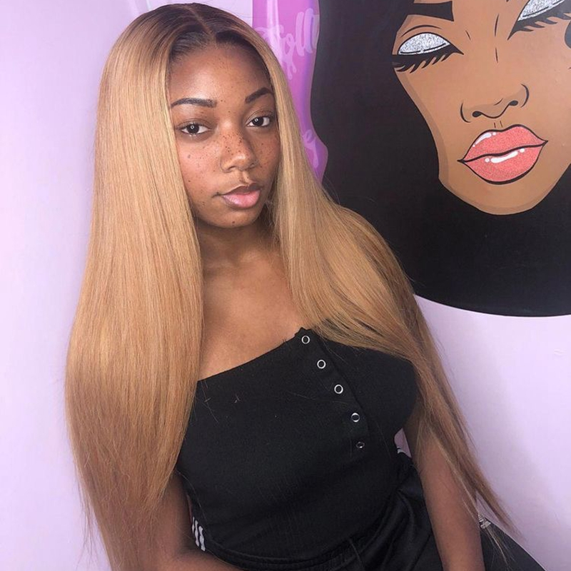 T4 27 Blonde Ombre Color Remy Brazilian Straight Wig Long Pre Plucked Glueless Lace Front Human