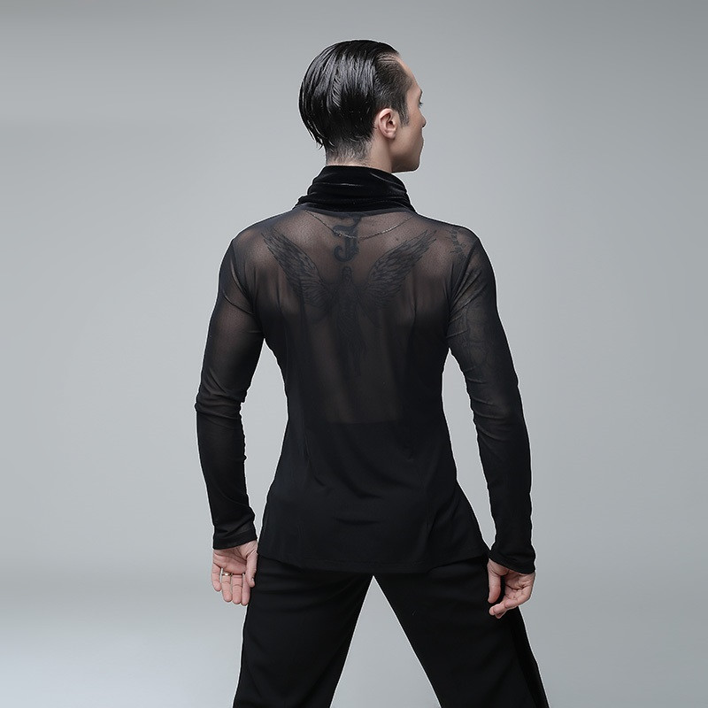 Picture of Black Mens Latin Shirts Latin Dance Shirts Men Ballroom Shirts Mens Ballroom Dancewear Dance Top Ballroom Clothes Dance Wear
