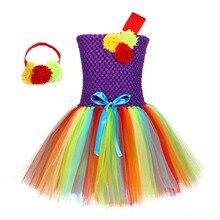 Flower Toddler Girls Unicorn Dress Children One Shoulder Knee Length Xmas Princess with Headband Tutu