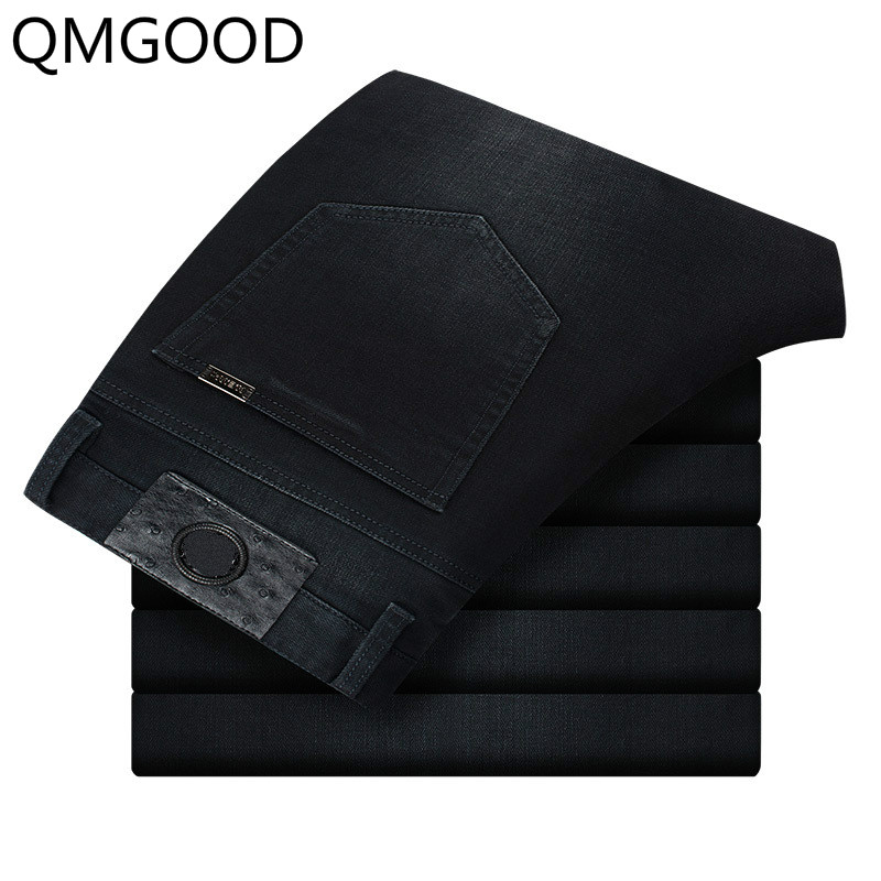 QMGOOD 2017 Black Men Designer Brand Jeans Trousers High Quality Cotton Casual Men`s Jeans Slim Fit Denim Stretch Jeans Men 36 jeans men s blue slim fit fashion denim pencil pant high quality hole brand youth pop male cotton casual trousers pant gent life