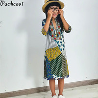 Girls Clothes Summer Dress Kids Clothes Three Quarter Sleeve Dresses Bohemian Beach One Piece Printing Children