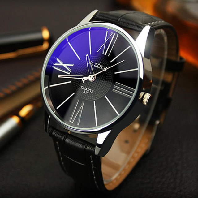 HOT New Fashion Mens Watches Top Brand Luxury Leather Strap Business Quartz Watc