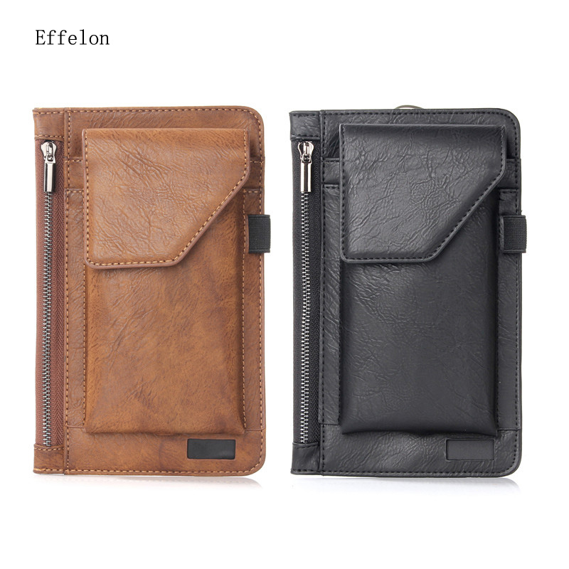 Galleria fotografica NEW Multi-function Double Pouch &Wallet for Iphone 6 7 Plus Belt Pouch Holster for 5.5'' Smartphone Belt Pouch with Pen Holder