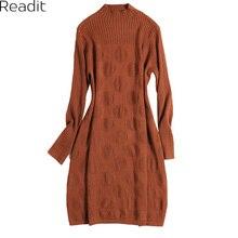 Readit вязаное платье 2017 осень-зима женское платье одноцветное вязаное платье Повседневное с длинным рукавом узор круг Платья для вечеринок Vestidos
