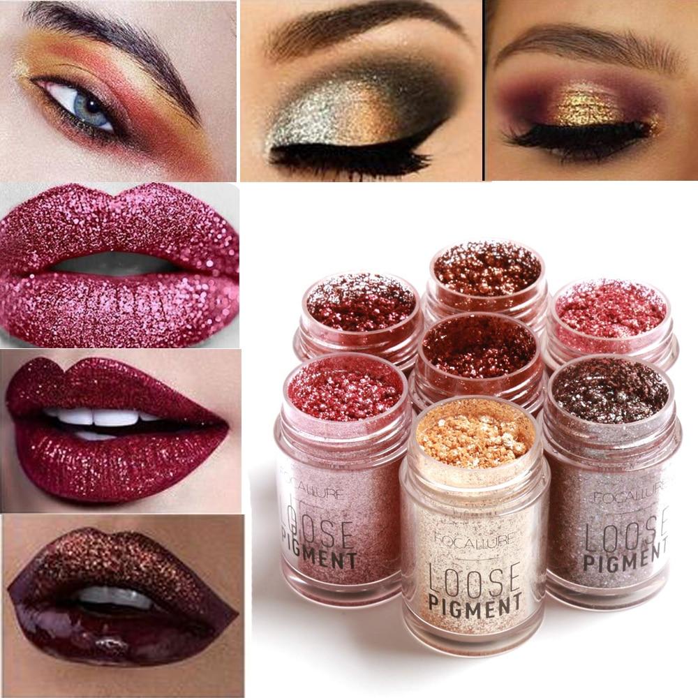 Focallure Diamond Glitter Eye Shadow Loose Powder 12 Colors Shimmer Eyeshadow Pigment For Eye -6171