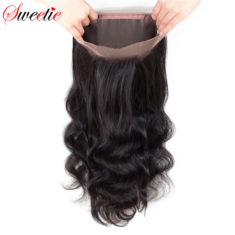 Sweetie Hair Brazilian Remy Hair Body Wave 360 Lace Frontal Closure With Baby Hair 100% Human Hair Free Part Pre Plucked