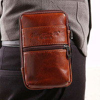 YIANG Men Waist Packs Genuine Leather Cowhide Retro Mobile Phone Bags Belt Clip Bag Fanny Bag