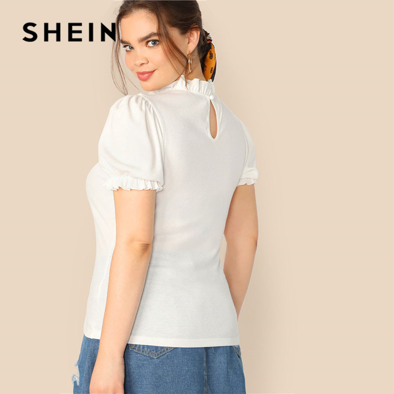 SHEIN Plus Size Lady Frilled Trim Neck Puff Sleeve Rib-Knit Beige T-Shirt Summer Elegant Short Sleeve Stand Collar Women Tshirt 2