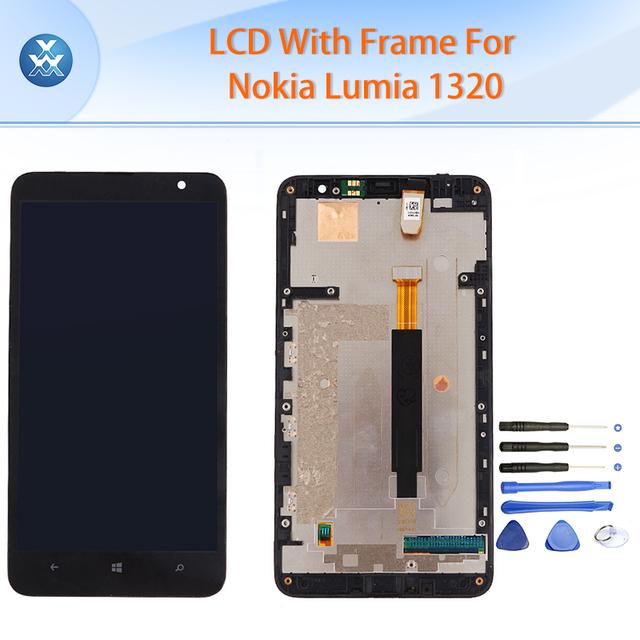Aaa lcd para microsoft nokia lumia 1320 pantalla lcd de pantalla táctil digitalizador + frame asamblea negro tela 6 pulgadas pantalla + herramientas