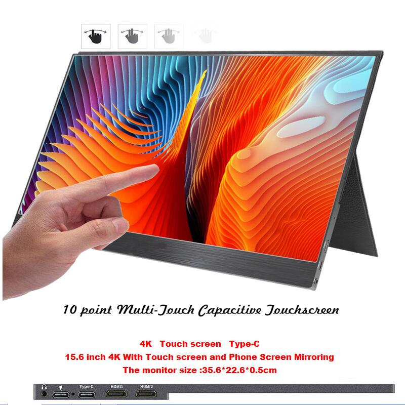15.6 inch 4K With Phone Mirroring and Touch Scree portable LCD monitor 5mm ultra slim LCD display forMac/PC/smart phone/PS4