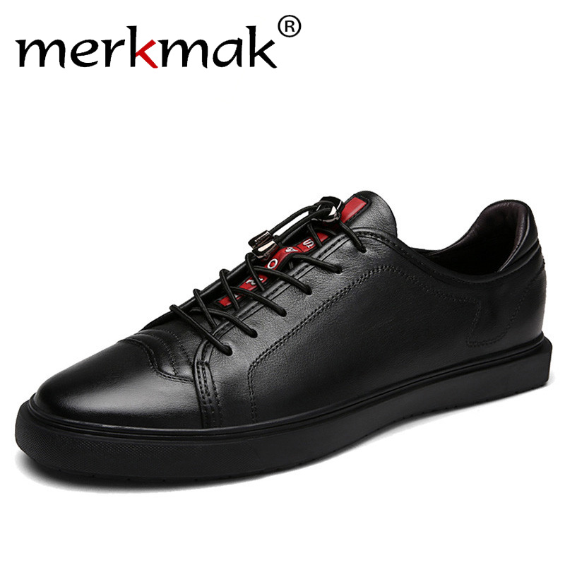 Merkmak Luxury Brand Real Leather Casual Shoes Men Fashion Black Sneakers Trendy Men's Flats Classic White Shoes for Man glowing sneakers usb charging shoes lights up colorful led kids luminous sneakers glowing sneakers black led shoes for boys