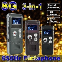 3D Stereo MP3 Çalar Mini USB Flash Disk Kalem Sürücü 8 GB Dijital Ses Kayıt 650hr Kulaklık Grabadora Gravador