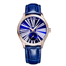 Reef Tiger RGA1561 Lady Luxury Austria Crystal Second Dial Women Automatic Meachanical Wrist Watch With Leather