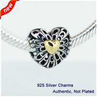 Fit for Pandora Bracelet 100% 925 Sterling Silver Beads Vintage Heart Silver Charm DIY Making Jewelry FL045