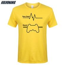 KOLVONANIG 2019 Summer Funny Heartbeat Gamer Cardiogram Print T Shirts Men Cotton Short Sleeve Game T-Shirt Tee Tops Plus Size все цены