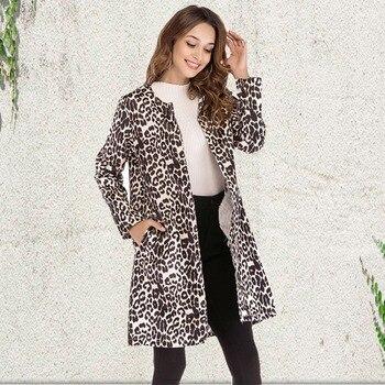 De Leopardo Mujeres Impreso Las Abrigos El Tamaño Invierno Más Eqg16x