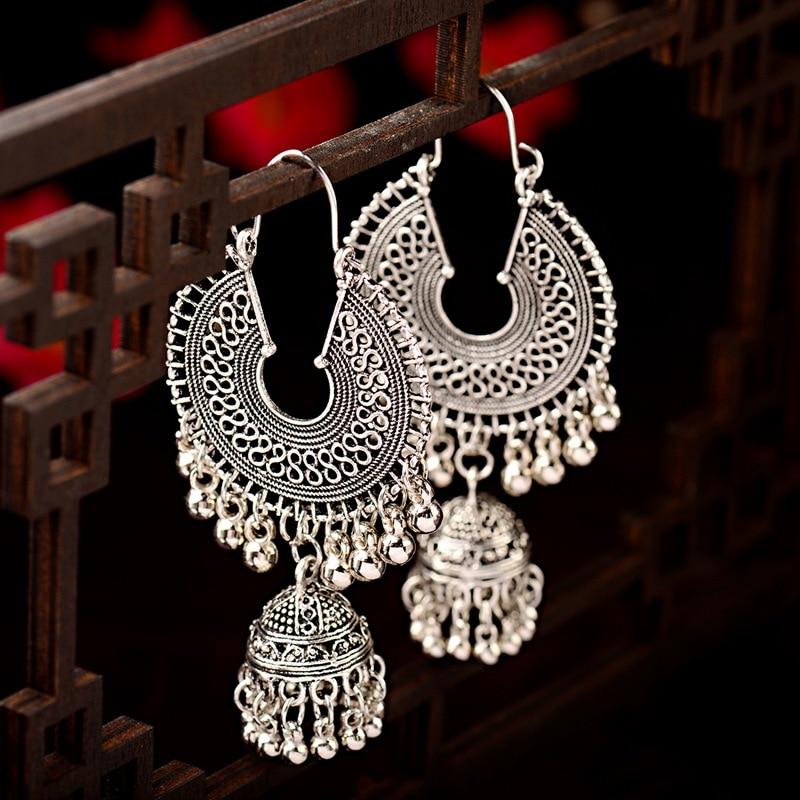2019 Egypt Vintage Womens Gold&silver Jhumka Bells Tassel Earrings Ethnic Turkish Tribal Gypsyround Hollow Indian Jewelry Earrings Jewelry & Accessories