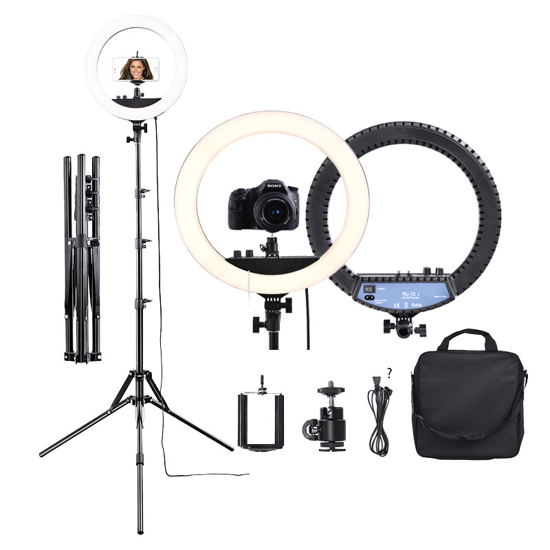 "Fusitu RL 12II 14"" Photography Studio 3200 5600K Led Ring Light With Tripod Stand Light Lamp For Camera Photo Studio Phone Video-in Photographic Lighting from Consumer Electronics"