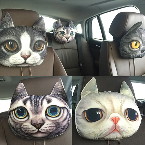 Creative Lovely 3D Simulation Cat Stuffed Toy Car Headrest Pillow Cushion Decor