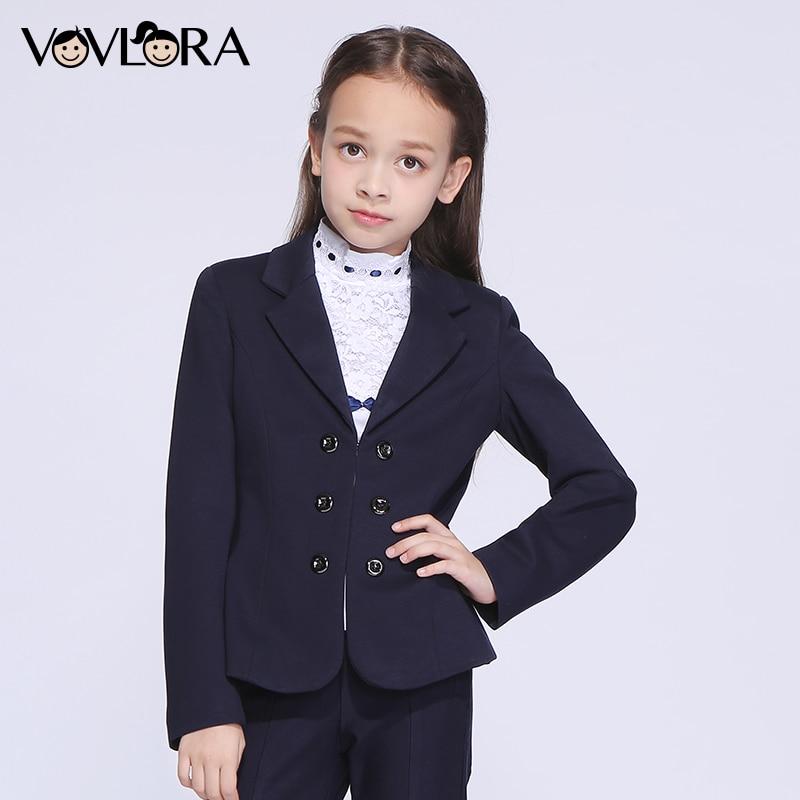 VOVLORA 2017 Пиджак для девочки приталенный с V-образным вырезом на крючках школьные пиджаки для девочек в синем цвете с закругленными полами зим...